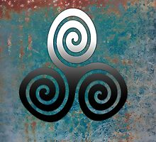 Hammered Metal Triple Spiral by GrimalkinStudio