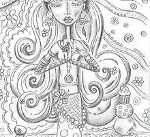 Yoga Gypsy Sketch – Whimsical Folk Art Girl in Namaste Pose by erica lubee  ~ SkyBlueWithDaisies