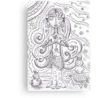 Yoga Gypsy Sketch – Whimsical Folk Art Girl in Namaste Pose Canvas Print