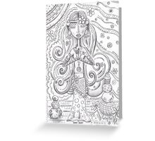 Yoga Gypsy Sketch – Whimsical Folk Art Girl in Namaste Pose Greeting Card