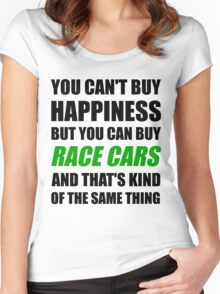 You Can't Buy Happiness But You Can Buy Race Cars Women's Fitted Scoop T-Shirt
