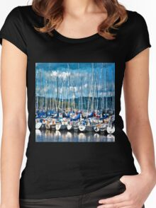 Sailboats Painted Women's Fitted Scoop T-Shirt