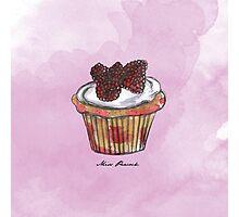 Wildberries Cupcake Photographic Print