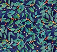 Leaves + Berries in Navy Blue, Teal & Tangerine by micklyn
