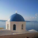 Blue dome at Oia Santorini by Francesca Muir