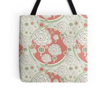 Doodle Flowers and Circles Pattern Tote Bag