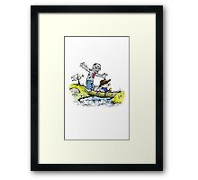 Calvin and Hobbes Walk with Zombie Framed Print