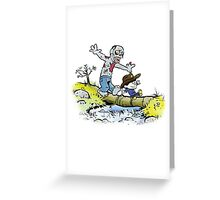 Calvin and Hobbes Walk with Zombie Greeting Card
