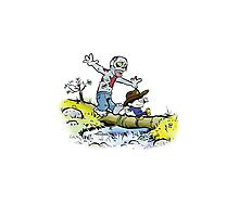 Calvin and Hobbes Walk with Zombie Photographic Print
