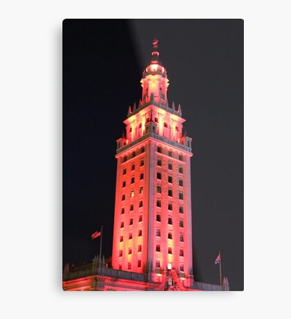 Red Lights of The Freedom Tower Building Metal Print