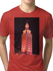 Red Lights of The Freedom Tower Building Tri-blend T-Shirt