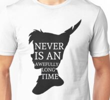 Peter Pan Quote Silhouette -- Never Is Unisex T-Shirt