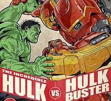 Hulk vs Hulkbuster by averagejoeart