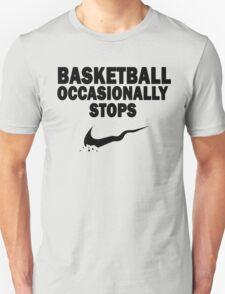 Basketball Occasionally Stops - Nike Parody (Black) T-Shirt