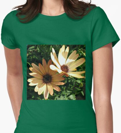Sunlight and Shadow - Two Peach Cape Daisies Womens Fitted T-Shirt