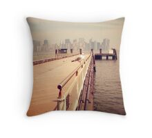 The Seagull in Liberty Island, New York City Vintage photograph Throw Pillow