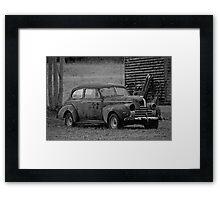 Old Rusty Antique Car Near Barn Framed Print