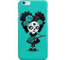 Teal Blue Sugar Skull Big Eyed Girl Playing the Guitar iPhone Case/Skin