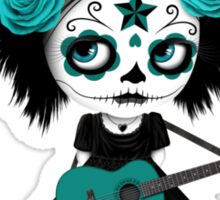 Teal Blue Sugar Skull Big Eyed Girl Playing the Guitar Sticker