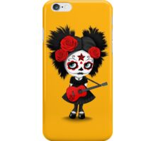 Red Sugar Skull Big Eyed Girl Playing the Guitar iPhone Case/Skin