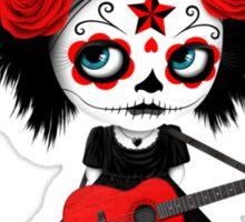 Red Sugar Skull Big Eyed Girl Playing the Guitar Sticker