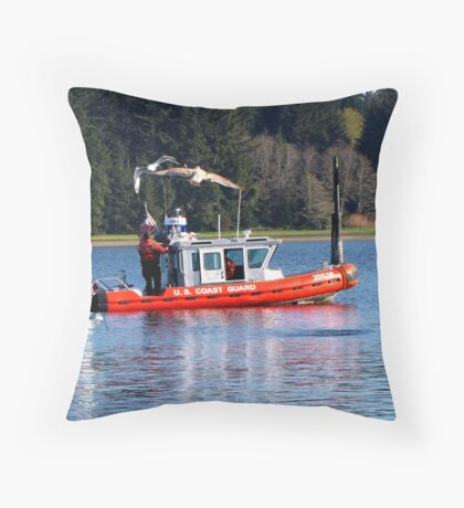 U.S. Coast Guard Launches Their New Boat  #25536 Throw Pillow