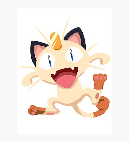 Meowth Pokemon Simple No Borders Photographic Print