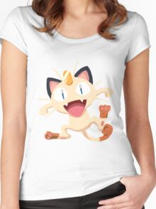 Meowth Pokemon Simple No Borders Women's Fitted Scoop T-Shirt