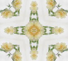 Creamy Yellow Rose Kaleidoscope Art 6 by Christopher Johnson