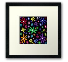 Colorful Retro Flowers on Black Framed Print