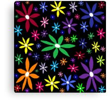 Colorful Retro Flowers on Black Oil Pastel Canvas Print