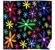 Colorful Retro Flowers on Black Oil Pastel Poster