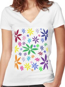 Colorful Retro Flowers Women's Fitted V-Neck T-Shirt