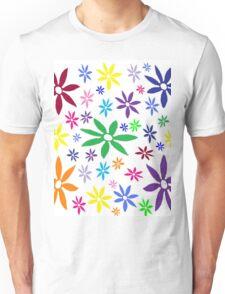 Colorful Retro Flowers Unisex T-Shirt