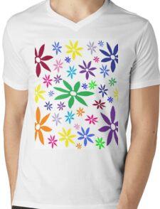 Colorful Retro Flowers Mens V-Neck T-Shirt