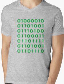 Bitcoin binary Mens V-Neck T-Shirt