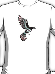 Red and Green Haida Spirit Flying Bird T-Shirt