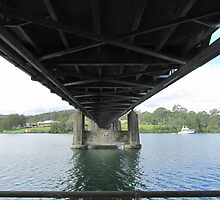 Under the 'Karuah' Bridge, built in Newcastle England. Erected 1957. Australia. by Rita Blom