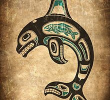 Teal Blue and Black Haida Spirit Killer Whale by Jeff Bartels