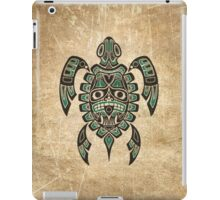 Teal Blue and Black Haida Spirit Sea Turtle iPad Case/Skin