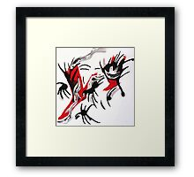 Quirky Design, Red, Black and White Art  Framed Print