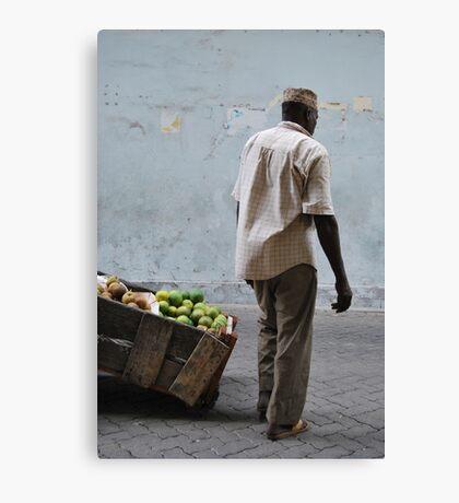 Fruit seller Canvas Print