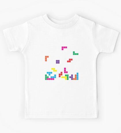 tetris on black Kids Tee