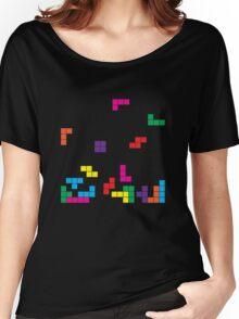 tetris on black Women's Relaxed Fit T-Shirt