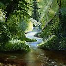 Woodland Stream Oil Painting by Packrat