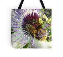 Close Up Of  Passion Flower with Honey Bee Tote Bag