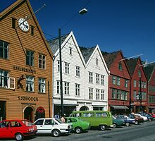 Bryggen Commercial area of Hanseatic League Bergen Norway 198406110042 by Fred Mitchell