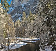 Half Dome in Snow  by photosbyflood