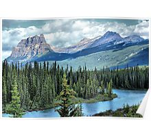 Castle Mountain and Bow River, Banff NP Poster