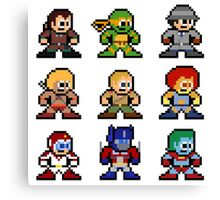 8-bit 80s Cartoon Heroes Canvas Print